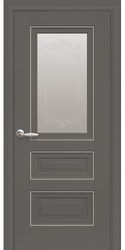 Межкомнатные двери Статус со стеклом сатин и молдингом и рисунком, Premium Антрацит