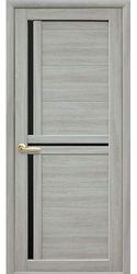 Межкомнатные двери Тринити с черным стеклом, Экошпон  Ясень патина