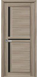 Межкомнатные двери Тринити с черным стеклом, Экошпон  Сандал
