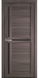 Межкомнатные двери Тринити с черным стеклом, Экошпон  Дуб Атлант