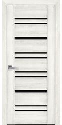 Межкомнатные двери Валенсия с черным стеклом, ПВХ ДеЛюкс Ясень New