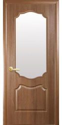 Межкомнатные двери Вензель со стеклом сатин, ПВХ DeLuxe Золотая ольха