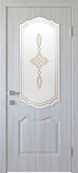 Межкомнатные двери Вензель со стеклом сатин и рисунком, ПВХ DeLuxe Ясень New