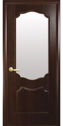 Межкомнатные двери Вензель со стеклом сатин, ПВХ DeLuxe Каштан