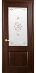 Межкомнатные двери Вилла со стеклом сатин и рисунком, ПВХ DeLuxe Каштан