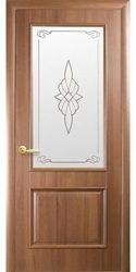 Межкомнатные двери Вилла со стеклом сатин и рисунком, ПВХ DeLuxe Золотая ольха