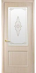 Межкомнатные двери Вилла со стеклом сатин и рисунком, ПВХ DeLuxe Ясень
