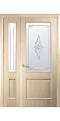 Двойные межкомнатные двери Вилла со стеклом сатин и рисунком, ПВХ DeLuxe Ясень
