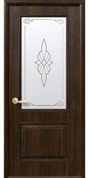 Межкомнатные двери Вилла со стеклом сатин и рисунком, ПВХ DeLuxe Орех premium
