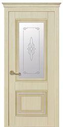Межкомнатные двери Вилла Премиум со стеклом сатин и рисунком, ПВХ DeLuxe Ясень