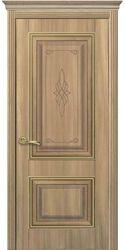 Межкомнатные двери Вилла Премиум глухое с гравировкой Gold, ПВХ DeLuxe Золотой дуб
