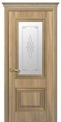Межкомнатные двери Вилла Премиум со стеклом сатин и рисунком, ПВХ DeLuxe Золотой дуб