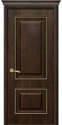 Межкомнатные двери Вилла Премиум глухое с гравировкой, ПВХ DeLuxe Каштан