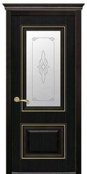 Межкомнатные двери Вилла Премиум со стеклом сатин и рисунком, ПВХ DeLuxe Венге new