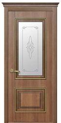 Межкомнатные двери Вилла Премиум со стеклом сатин и рисунком, ПВХ DeLuxe Золотая ольха