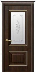 Межкомнатные двери Вилла Премиум со стеклом сатин и рисунком, ПВХ DeLuxe Каштан