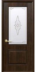 Межкомнатные двери Вилла Премиум со стеклом сатин и рисунком, ПВХ DeLuxe Орех premium