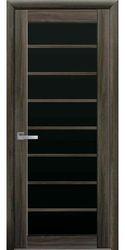 Межкомнатные двери Виола с черным стеклом, Экошпон  Кедр