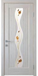 Межкомнатные двери Волна со стеклом сатин и рисунком Р2, ПВХ DeLuxe Ясень New