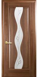 Межкомнатные двери Волна со стеклом сатин и рисунком, ПВХ DeLuxe Золотая ольха