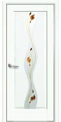 Межкомнатные двери Волна со стеклом сатин и рисунком, Premium Белый матовый