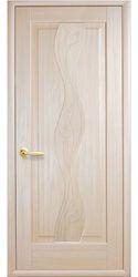 Межкомнатные двери Волна глухое с гравировкой, ПВХ DeLuxe Ясень