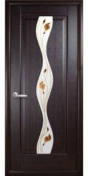 Межкомнатные двери Волна со стеклом сатин и рисунком, ПВХ DeLuxe Венге new