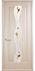 Межкомнатные двери Волна со стеклом сатин и рисунком, ПВХ DeLuxe Ясень