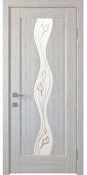 Межкомнатные двери Волна со стеклом сатин и рисунком Р1, ПВХ DeLuxe Ясень New