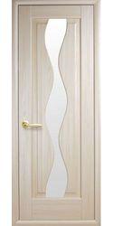 Межкомнатные двери Волна со стеклом сатин, ПВХ DeLuxe Ясень