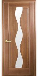 Межкомнатные двери Волна со стеклом сатин, ПВХ DeLuxe Золотая ольха
