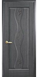 Межкомнатные двери Волна глухое с гравировкой, ПВХ DeLuxe Серый