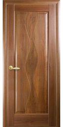 Межкомнатные двери Волна глухое с гравировкой, ПВХ DeLuxe Золотая ольха