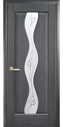 Межкомнатные двери Волна со стеклом сатин и рисунком, ПВХ DeLuxe Серый