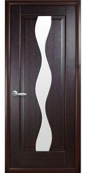 Межкомнатные двери Волна со стеклом сатин, ПВХ DeLuxe Венге new