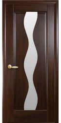 Межкомнатные двери Волна со стеклом сатин, ПВХ DeLuxe Каштан