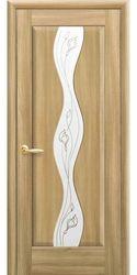 Межкомнатные двери Волна со стеклом сатин и рисунком, ПВХ DeLuxe Золотой дуб