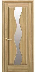 Межкомнатные двери Волна со стеклом сатин, ПВХ DeLuxe Золотой дуб