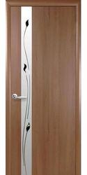 Межкомнатные двери Злата со стеклом сатин и рисунком, ПВХ DeLuxe Золотая ольха