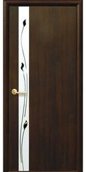 Межкомнатные двери Злата со стеклом сатин и рисунком, ПВХ DeLuxe Каштан