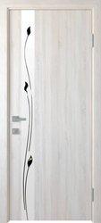 Межкомнатные двери Злата со стеклом сатин и рисунком, ПВХ DeLuxe Ясень New